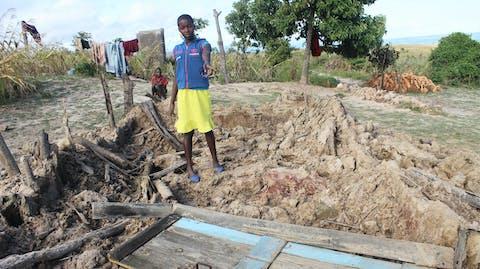 Woning verwoest sponsorkind door overstroming orkaan Idai