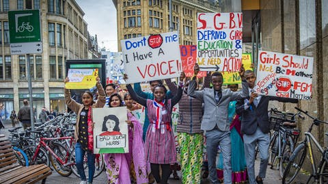demonstratie borden girls advocacy alliance