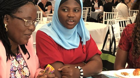 Hibatu from Sierra Leone is a youth advocate from the Girls Advocacy Alliance, pictured at the HPLF 2019