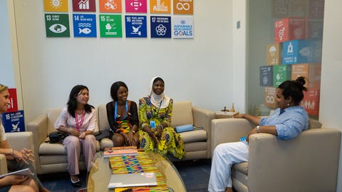 Youth advocates from the Girls Advocacy Alliance in conversation with UN Youth Envoy Jayathma Wickramanayake