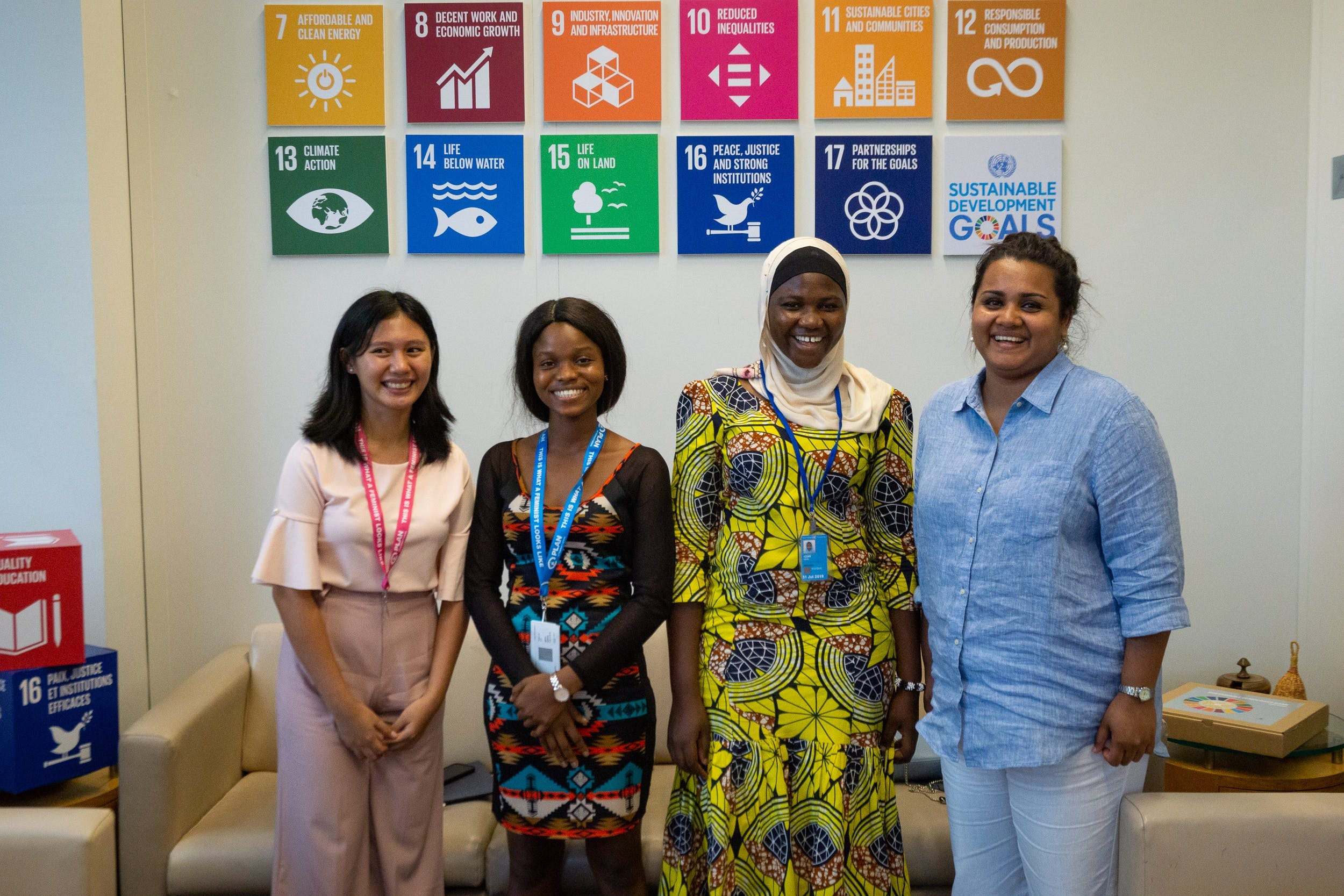 Girls Advocacy Alliance youth advocates at the HLPF 2019 with UN Youth Envoy