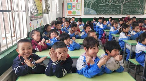 Kinderen in een klaslokaal.