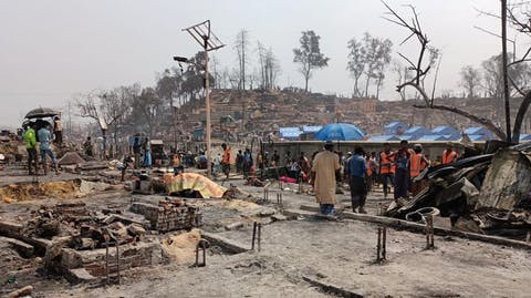 kamp afgebrand in Cox's Bazar Bangladesh